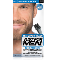 JUST FOR MEN - MUSTACHE & BEARD BRUSH-IN COLOUR GEL (Light Medium Brown) M30
