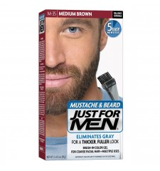 JUST FOR MEN - MUSTACHE & BEARD BRUSH-IN COLOUR GEL (Medium Brown) M35