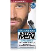 JUST FOR MEN - MUSTACHE & BEARD BRUSH-IN COLOUR GEL (Medium Brown) M35