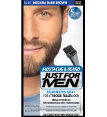 JUST FOR MEN - MUSTACHE & BEARD BRUSH-IN COLOUR GEL (Medium - Dark Brown) M40