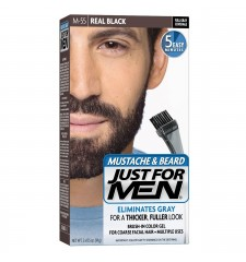 JUST FOR MEN - MUSTACHE & BEARD BRUSH-IN COLOUR GEL (Real Black) M55