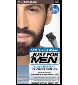 JUST FOR MEN - MUSTACHE & BEARD BRUSH-IN COLOUR GEL (Real Black) M55