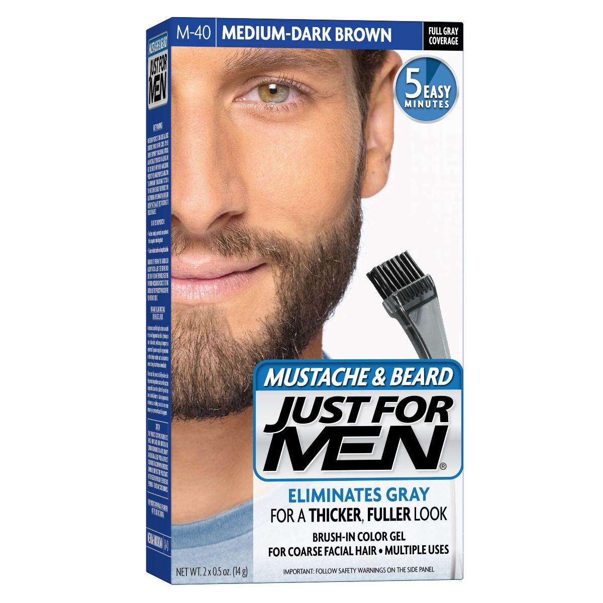 Just For Men Mustache Beard Brush In Colour Gel Medium Dark